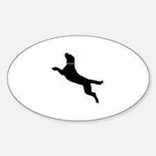 Black Dock Jumping Dog Sticker (Oval)