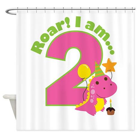 Girl Dinosaur 2nd Birthday Shower Curtain