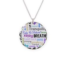 Relax Typography Necklace Circle Charm