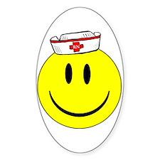 RN Nurse Happy Face Oval Decal