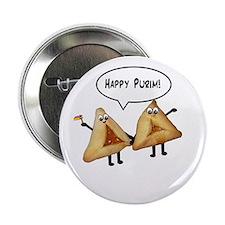 """Happy Purim Hamantaschen 2.25"""" Button (10 pack)"""