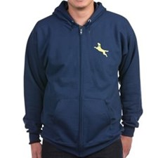 Yellow Dock Jumping Dog Zip Hoodie