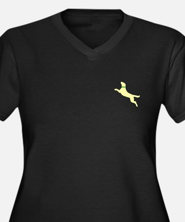 Yellow Dock Jumping Dog Women's Plus Size V-Neck D