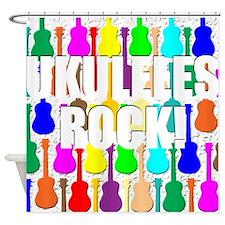 Awesome Ukuleles Rock Shower Curtain