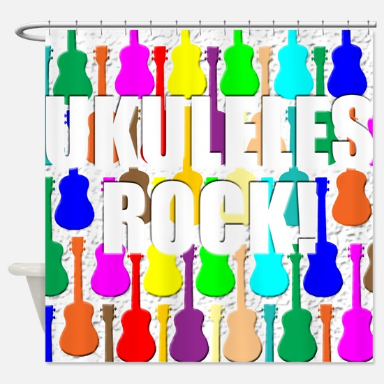 Awesome Ukuleles Rock Shower Curtain