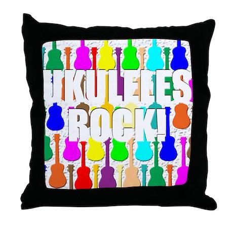 Awesome Ukuleles Rock Throw Pillow