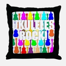Awesome Ukuleles Rock Throw Pillow