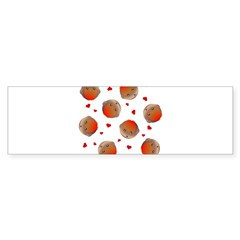Robins and Hearts Pattern Bumper Sticker