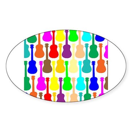 Rainbow Ukulele Sticker (Oval)