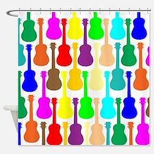 Rainbow Ukulele Shower Curtain