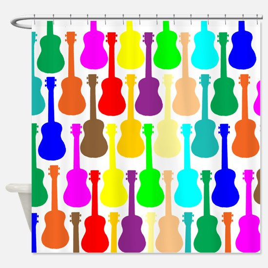 Rainbow Ukulele Shower Curtain