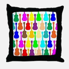 Rainbow Ukulele Throw Pillow