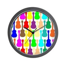Rainbow Ukulele Wall Clock