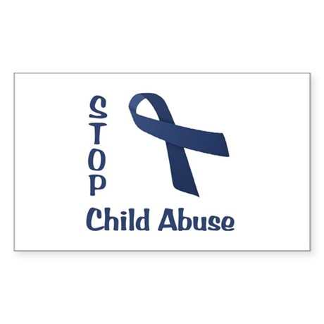 Stop Child Abuse Sticker (Rectangle)
