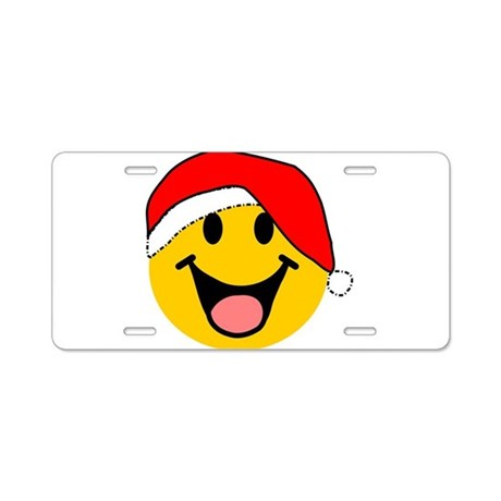 Santa Smiley Aluminum License Plate