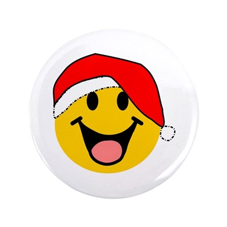 "Santa Smiley 3.5"" Button (100 pack)"