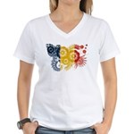 Romania Flag Women's V-Neck T-Shirt