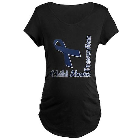 Child Abuse Prevention Maternity Dark T-Shirt