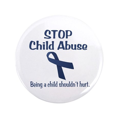 """Stop Child Abuse It Hurts 3.5"""" Button"""