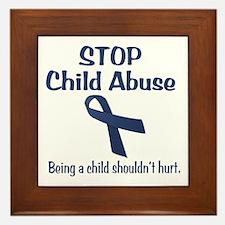 Stop Child Abuse It Hurts Framed Tile