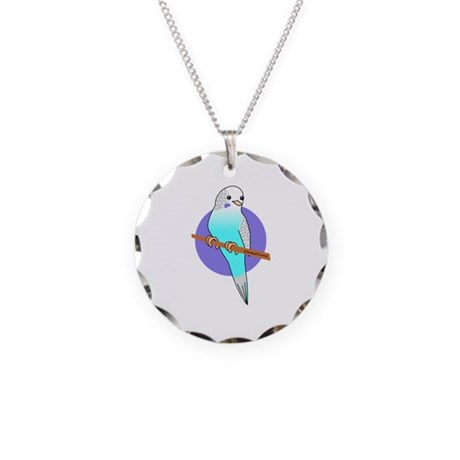 Blue Budgie Necklace Circle Charm