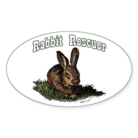 Rabbit Rescuer Oval Sticker