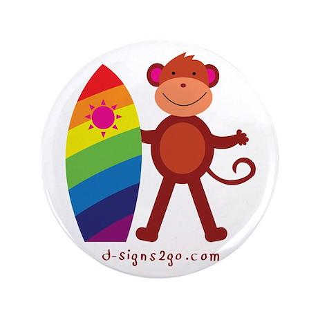 """Monkey Surfing 3.5"""" Button"""