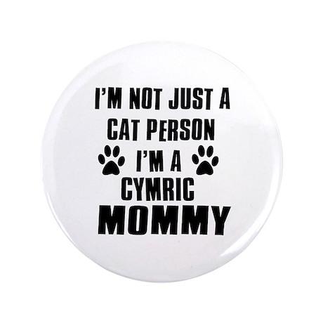 """Cymric Cat Design 3.5"""" Button"""