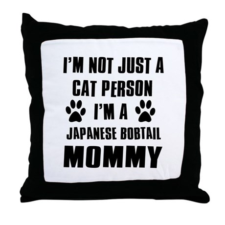 Japanese Bobtail Cat Design Throw Pillow