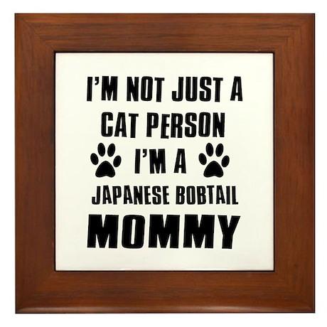 Japanese Bobtail Cat Design Framed Tile