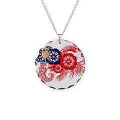 Taiwan Flag Necklace Circle Charm