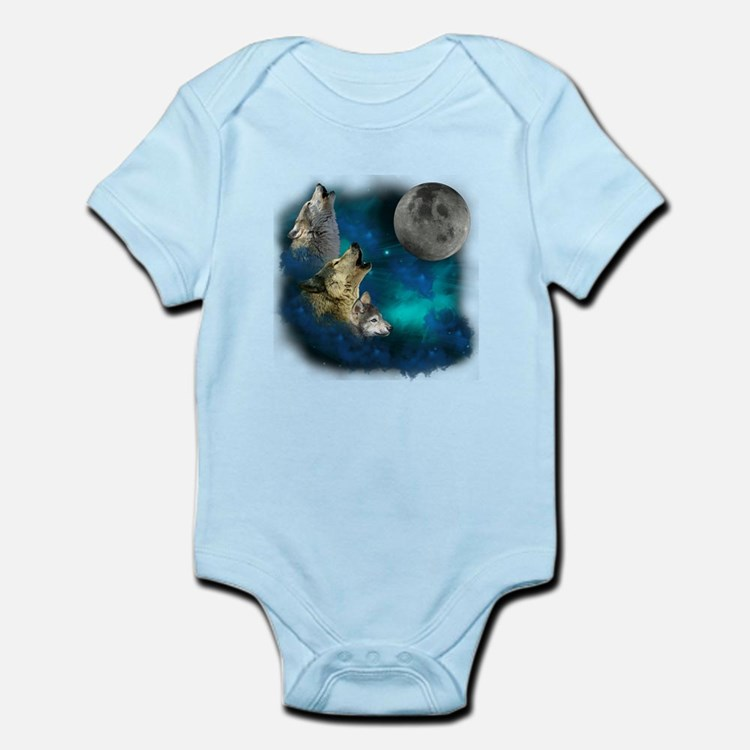Northern Lights Wolfs Family Moon Infant Bodysuit