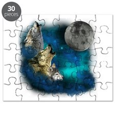 Northern Lights Wolfs Family Moon Puzzle