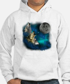 Northern Lights Wolfs Family Moon Hoodie