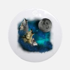 Northern Lights Wolfs Family Moon Ornament (Round)
