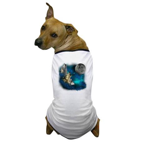 Northern Lights Wolfs Family Moon Dog T-Shirt