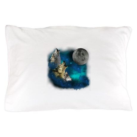 Northern Lights Wolfs Family Moon Pillow Case