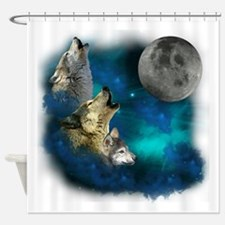 Northern Lights Wolfs Family Moon Shower Curtain