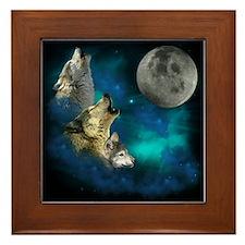 Northern Lights Wolfs Family Moon Framed Tile