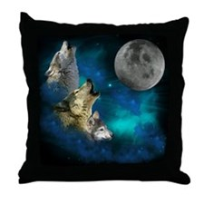 Northern Lights Wolfs Family Moon Throw Pillow