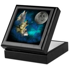 Northern Lights Wolfs Family Moon Keepsake Box