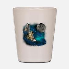 Northern Lights Wolfs Family Moon Shot Glass