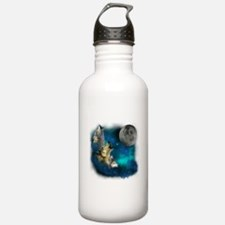Northern Lights Wolfs Family Moon Water Bottle