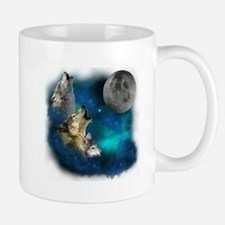 Northern Lights Wolfs Family Moon Mug