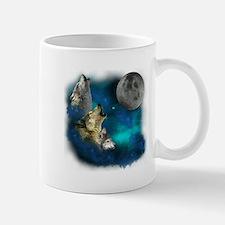 Northern Lights Wolfs Family Moon Mug