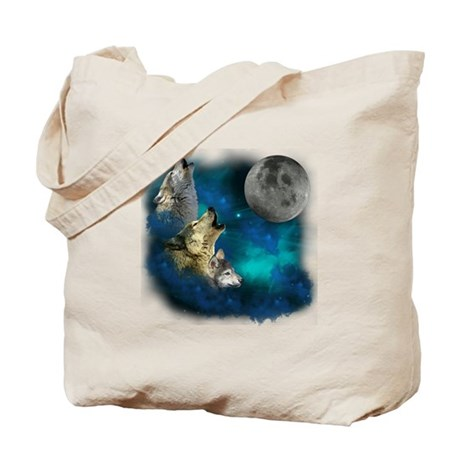 Northern Lights Wolfs Family Moon Tote Bag