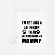 American Wirehair Cat Design Greeting Card