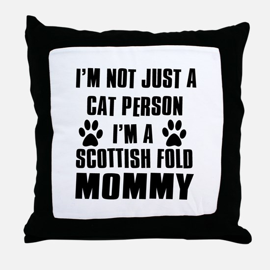 Scottish Fold Cat Design Throw Pillow