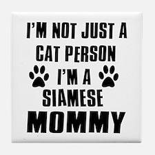 Siamese Cat Design Tile Coaster