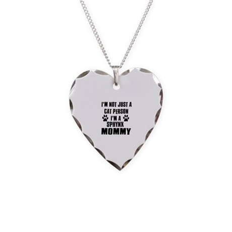 Sphynx Cat Design Necklace Heart Charm